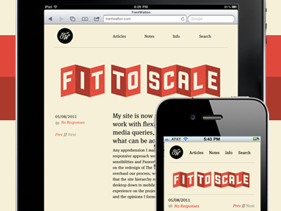 Gone Responsive beige red blog typekit lettering.js fittext css transforms