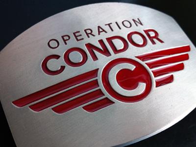 Operation Condor Belt Buckles operation condor red silver proxima nova