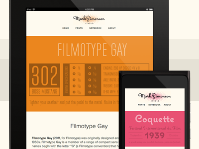 Mark Simonson Website filmotype coquette responsive paravel tons of fun