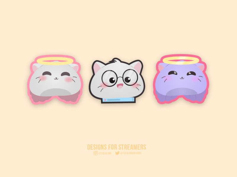 Cute cats subbadges for twitch streamer twitchemotes esportslogo 2d character design branding vector 2d illustration streamers subbadges twitch streamer
