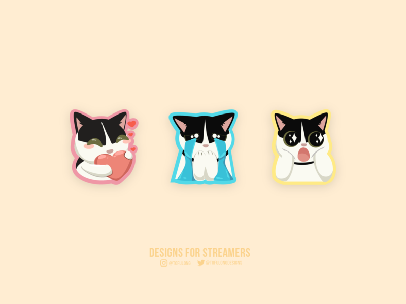 Lily the Cute Cat Emotes for Twitch Streamer mascotlogo twitchemotes esports design streamer branding twitch vector 2d illustration