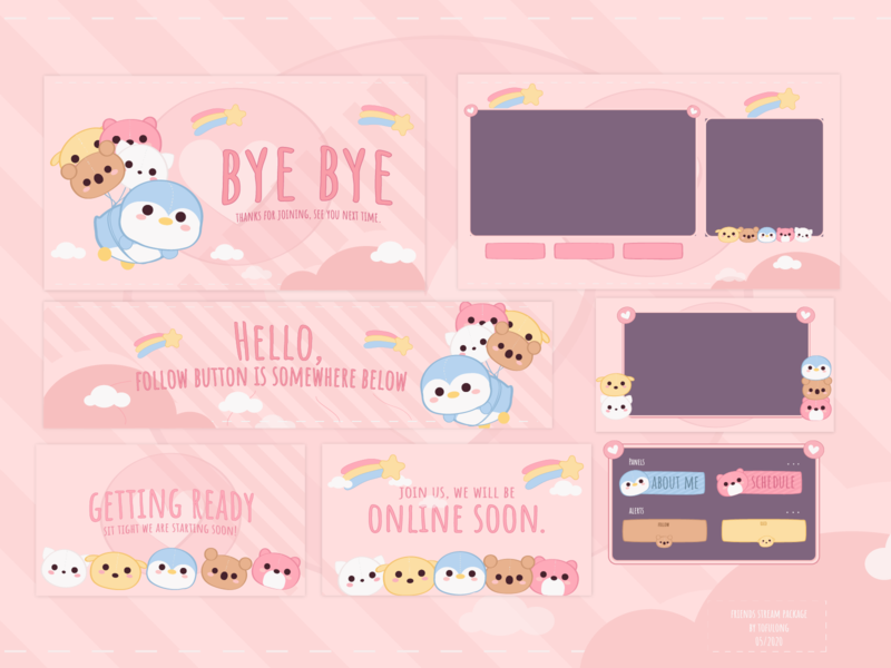 Cute Twitch Design Package - Friends Package twitch vector 2d illustration cute streamers cute designs for streamers cute branding cute twitch branding happy stream packages happy twitch overlay happy twitch design cute streampackges cute twitch packages cute twitch emotes cute twitch overlay cute twitch design