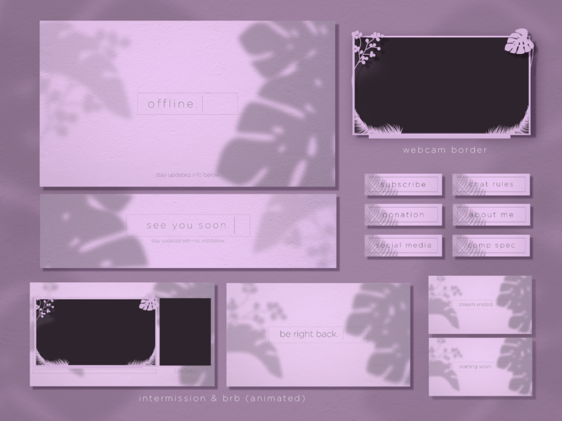 Simple Twitch Aesthetics Package Overlays