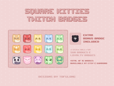 Cute Square Kitty Twitch Subbadges Twitch Overlays streamers cute art esportslogo twitchemote twitchemotes esports design twitch streamer branding cute illustration best stream packages cute twitch overlay cute twitch designs cute twitch emotes