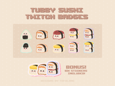 Cute Sushi Twtich Subbadges & Loyalty Badges Stream Package design streamer branding illustration twitch stickers twitchemotes twitchemote twitch logo twitch designs for streamer twitch designs twitch overlay twitch streamer loyalty badges subbadges cute twitch subbadges twitch subbadges