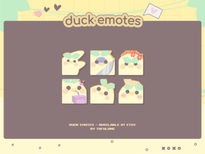Cute Chick Duck Twitch & Discord Emotes Designs twitchemotes twitch illustration starter stream packages starter twitch designs basic stream package new streamer design kawaii twitch designs gamer girl designs esports twitch designs gamer twitch design friends stream package pudding twitch overlays soft pudding designs pastel yellow twitch popular stream packages cute twitch design