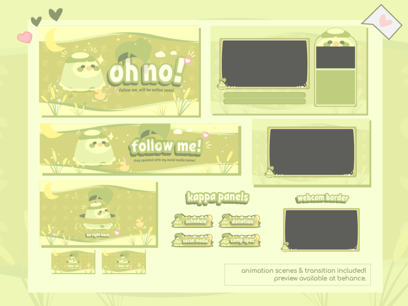 Cute Twitch Design & Overlay - Pastel Green Kappa Stream Package twitch vector illustration animalcrossing twitch twitch overlay stream overlay stream package kawaii twitch designs gamer girl designs esports twitch designs gamer twitch design friends stream package swamp kappa twitch overlays twitch kappa pastel green twitch popular stream packages cute twitch design