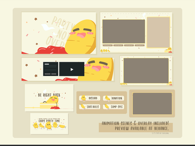 Cute Chips Party Stream Package Design twitchemote 2d twitch streamer illustration cute twitch overlay cute twitch designs pro stream packages pro twitch overlay simple twitch design cute streamlabs overlay cute streamelement overlay cute obs overlay cute stream overlay cute twitch design