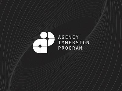 AIP black and white logo program agency blocks vector design branding logo graphic design