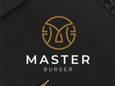 Master burger logo concept logos corporate burger identity vector icon letterm design logo