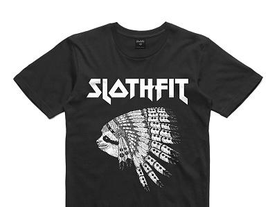 The Chief slothfit tshirt black iron maiden chief headdress sloth apparel