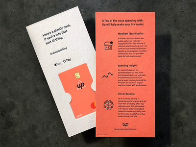 Up Welcome Pack pack welcome dl letterpress gif 24fps bank banking card pantone coaster print
