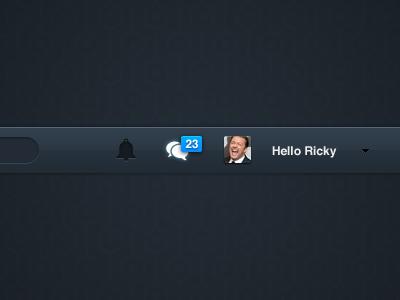 Funways header header nav notification messages inbox ricky gervais bar dark