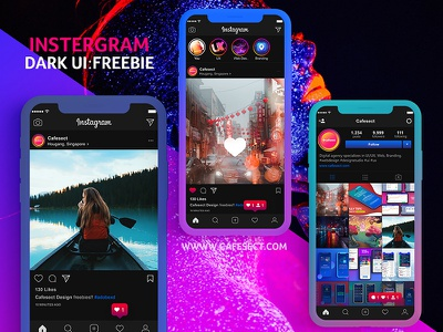 Instergram UI- XD Freebie adobexd xd freebie freedownload free ux black ui instergram