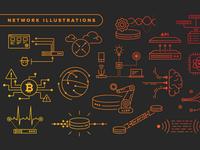 Monoline Network Illustrations