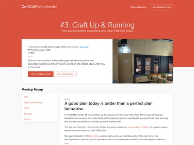 Manchester Meetup Page timeline recap event craft cms club studio clean minimal ux ui