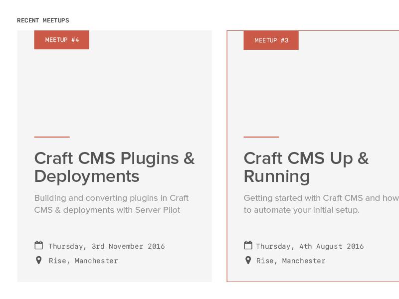 Craft CMS Meetup Cards