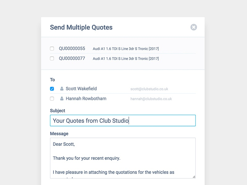 Crm send multi quote