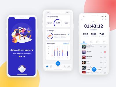 Running App design tracker health fitness app running mobile design mobile app ui design uidesign ui
