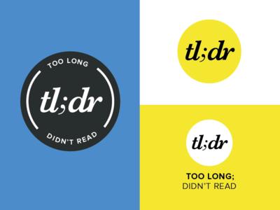 TLDR Logo lettering typography circle logo tldr branding