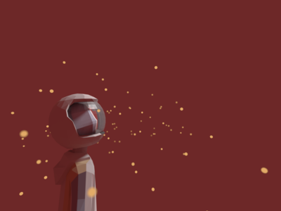 The boy in an astronaut's helmet and fireflies.