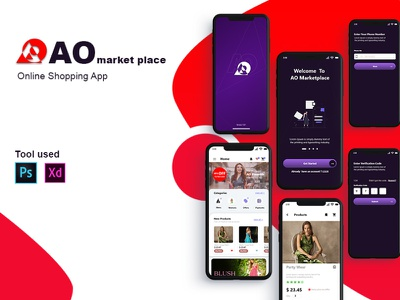 AO marketplace xd minimal app photoshop ui ux design