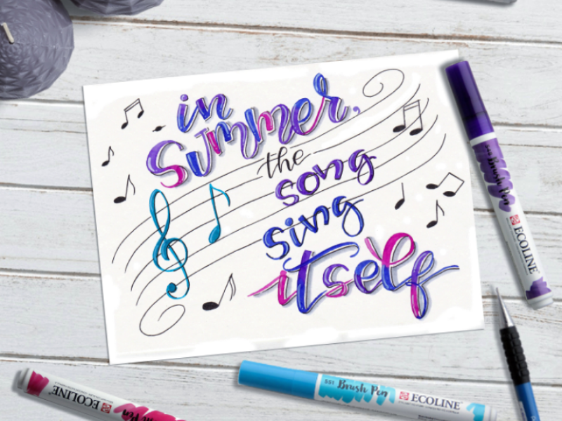 In summer, the song sings itself 💙 wall art letter design poster brushpen art watercolor hand draw drawing lettering art illustration letters watercolor art calligraphy quotes lettering