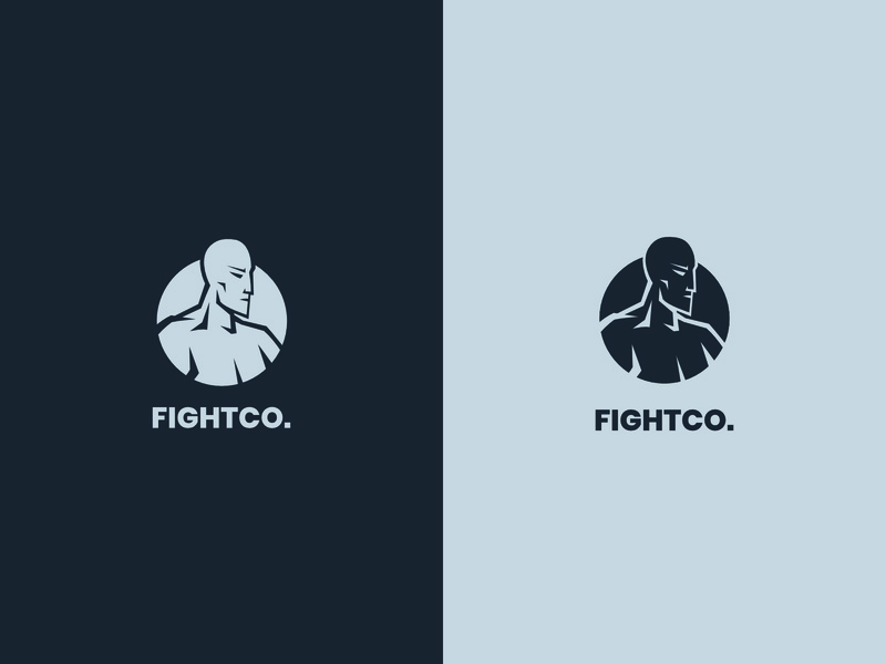 FIGHTCO. affinity design idasu workout muscle health circle icon silhouette logo fitness fit