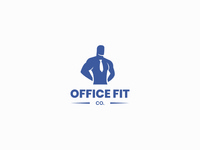 OfficeFit idasu vector brand logo affinity designer man silhouette blue company corporate office healthy health muscle fit fitness