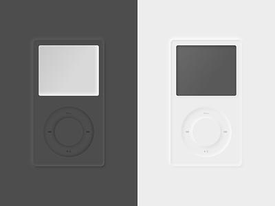 neumorphic iPod black and white brand classification vector design neumorphic illustration ipod
