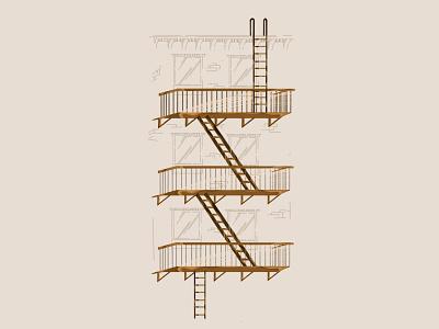 NYC Fire Escape art illustraion building fire escape nyc procreate illustrator