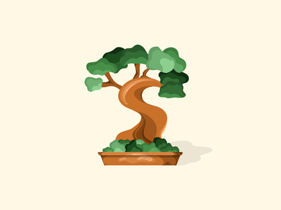 Bonsai ipad plant flower green bonsai tree procreate ui design clean illustration vector