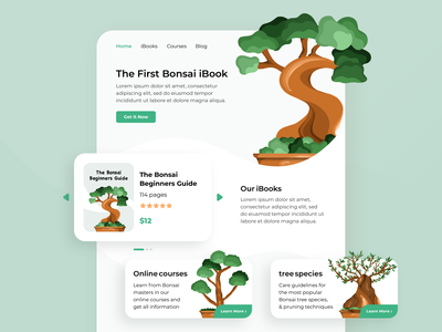 Bonsai Landing Page icon app web typography clear home classification procreate ux vector logo illustration branding clean brand ui illustrator design