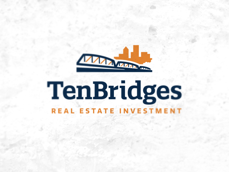 Real Estate logo ten bridge slab blue orange real estate finance development construction logo