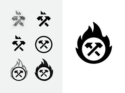 Logo mark process enclosure illustration branding process flame blacksmith hammers fire logodesign logo