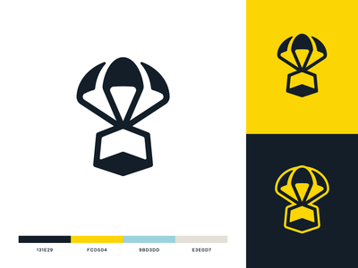 Supply Drop Logo package box branding identity icon design illustration supply parachute logo