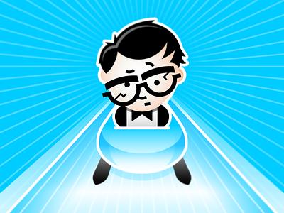 Sochi Bobsledding illustration human person cartoon character olympic blue sports geek glasses bobsled
