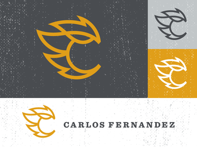 Carlos Fernandez logo logo c design flame illustration organic fernandez sketch concept yellow orange charcoal