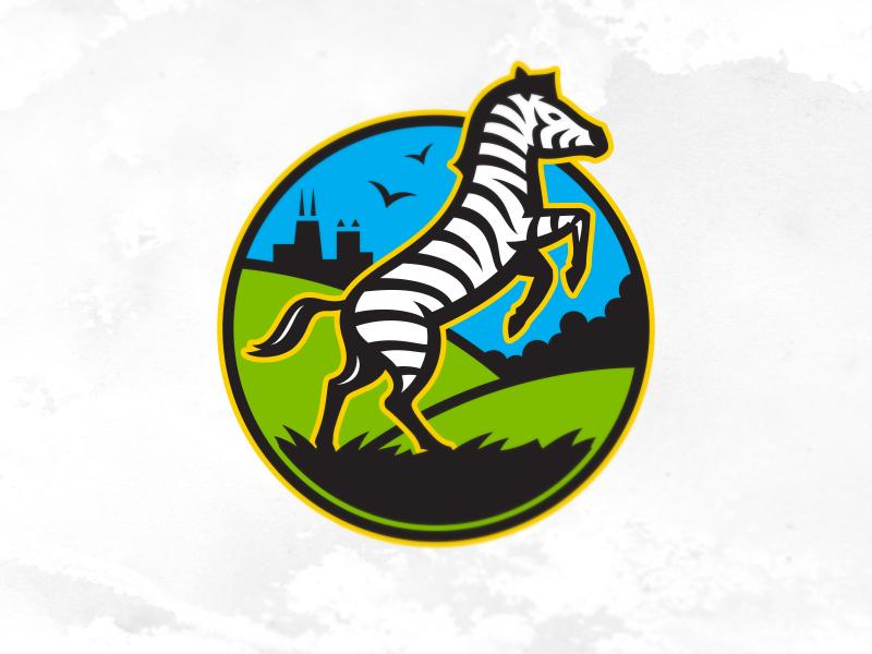 Zebra logo zoo zebra event city skyline stripes animal logo illustration icon design