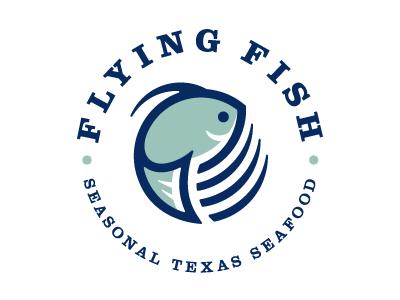 Flying Fish logo fish swim water circular circle iconic logo seafood food texas blue aqua green serif