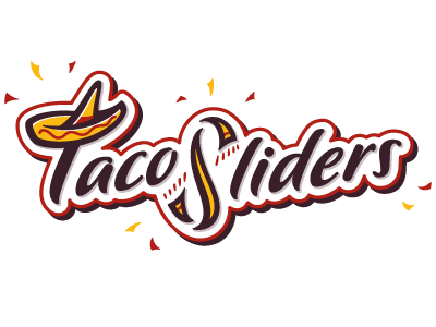 Taco Sliders logo taco mexican food restaurant serape sombrero hat confetti type script fun playful red yellow brown black logo