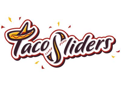 Taco Sliders logo taco mexican food restaurant serape sombrero hat confetti type script fun playful red yellow brown black logo