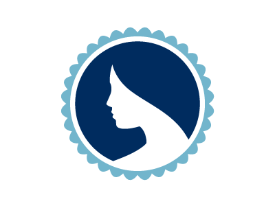 Augusta Plastic Surgery logo concept woman profile simple blue side navy person human medical health plastic iconic face beauty circle circular logo