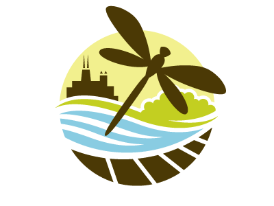 Nature Boardwalk logo dragonfly zoo chicago boardwalk nature outdoors pond scene skyline brown green lime blue circle circular logo illustration illustrative insect fly