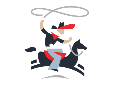 Cowboy logo cowboy horse rope lasso texas country ranch farm ride abstract fun playful black gray red blue action partnership wealth finance investment invest