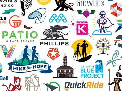 Logos Logos identity work branding icon samples pattern collage illustration design logo