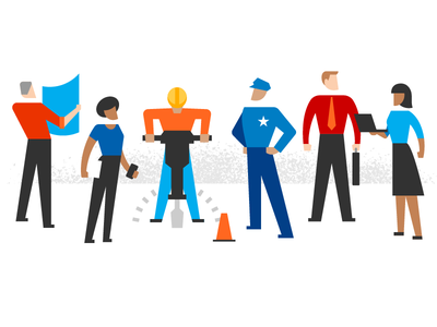 Character illustrations interstate working people construction illustration design character