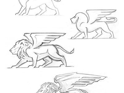 Financial logo lion stone carve power cat wing logo financial wealth investment animal identity corporate