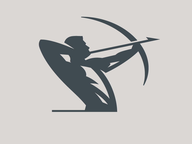 Archer Logo identity archery archer bow arrow iconic simple branding icon design illustration logo