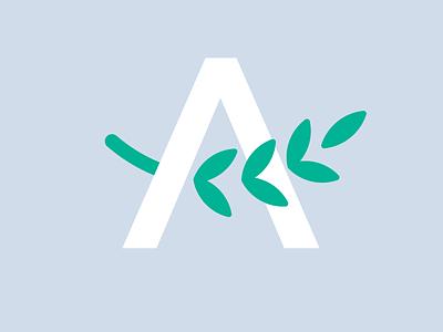 Home Healthcare Logo vector typography simple iconic illustration branding design letter a leaves leaf monogram icon logo